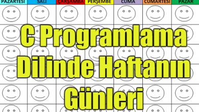 Photo of C Programlama Dilinde Haftanın Günleri