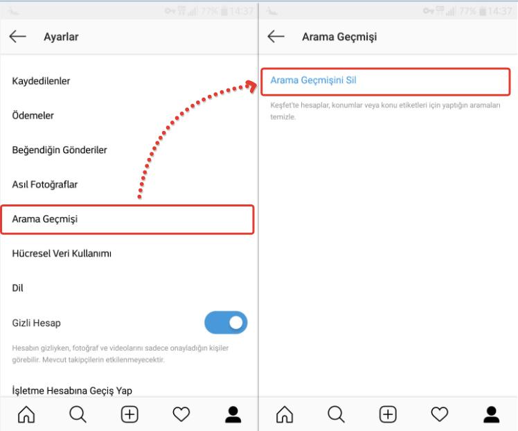Instagram arama geçmişi temizleme