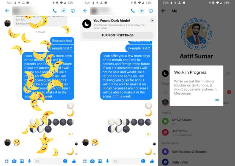 facebook messenger karanlık mod