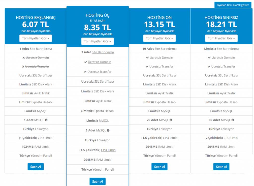 Wnokta hosting fiyatları