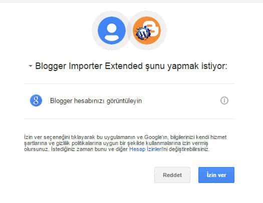 Blogger Importer Extended izni nedir