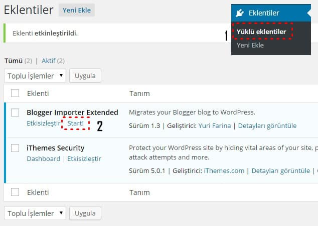 Blogger'ı WordPress'e aktarma