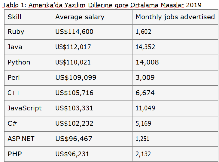 Amerika'daki yazılım geliştirici maaşları