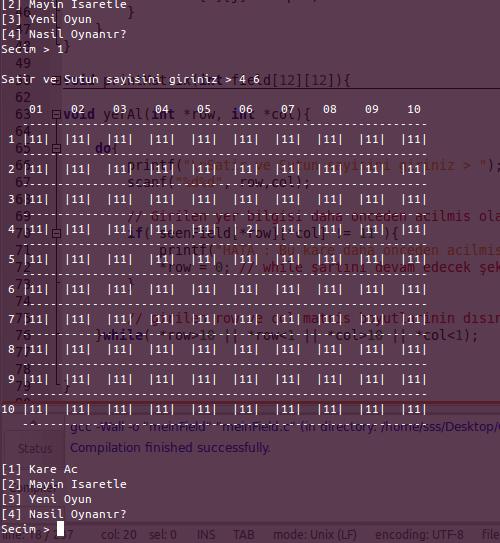 c programlama dilinde mayın tarlası oyunu yapımı