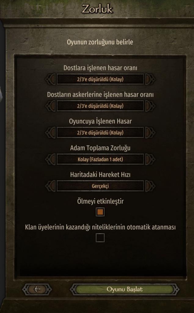 Bannerlord oyun zorluk seviyeleri
