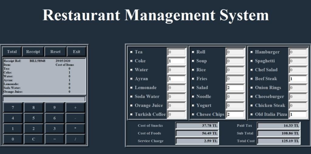 python restorant yönetim sistemi